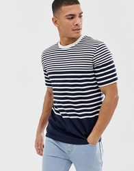Selected Homme T Shirt With Various Stripes Navy