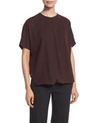 Vince Short Sleeve Wrap Front Silk Top Brown