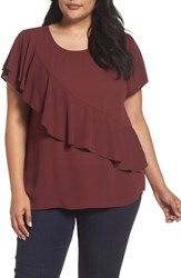 Sejour Plus Size Women's Woven Ruffle Tee Red Tannin