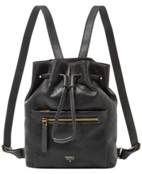 Fossil Vickery Leather Drawstring Backpack Black