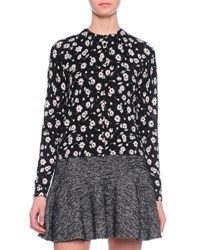 Dolce And Gabbana Floral Print Cashmere Silk Cardigan Black White Black And White