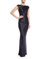 Talbot Runhof Cap Sleeve Fitted Gown Moonlight