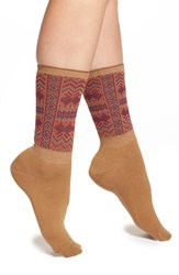 Women's Free People 'French Quarter' Fair Isle Knit Crew Socks Brown Brown Combo