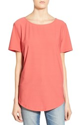Women's Leith Wrap Back Stretch Knit Tee Coral Sharon