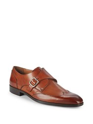 Massimo Matteo Leather Wingtip Monk Strap Shoes Brown