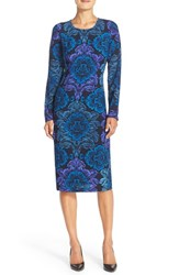 Maggy London Women's Floral Print Crepe Midi Dress Navy Blue