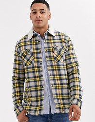 Another Influence Regular Fit Check Flannel Shirt With Borg Lining Navy
