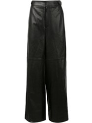 Juun.J Wide Leg Leather Trousers Black