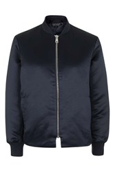 Topshop Shiny Bomber Jacket Navy Blue