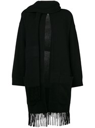 Salvatore Ferragamo Fringed Cardigan With Scarf Cashmere Virgin Wool Black
