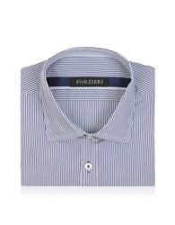 Forzieri Striped White And Blue Cotton Slim Fit Shirt