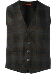 Barena Checked Buttoned Vest Grey