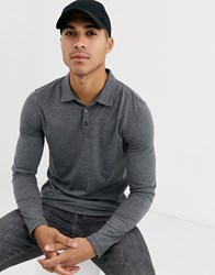 Burton Menswear Long Sleeve Polo In Charcoal Grey