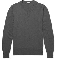 Tomas Maier Cashmere Henley Sweater Gray