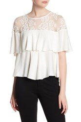 Abs By Allen Schwartz Lace Yoke Popover Blouse White