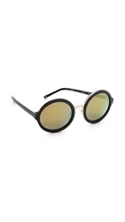 3.1 Phillip Lim Thick Rim Round Sunglasses Matte Black Multi Yellow