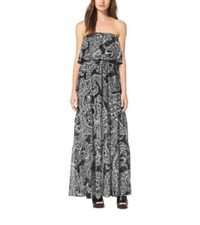 Michael Kors Tiered Paisley Strapless Maxi Dress Black