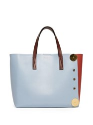 Marni Punch Contrast Panel Leather Tote Blue Multi