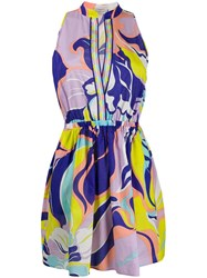 Emilio Pucci Sleeveless Floral Ruched Dress Pink