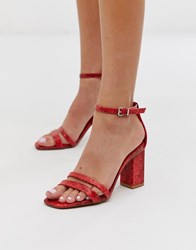 Bershka Snake Print Two Part Sandals In Red
