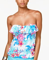 Island Escape Indo Nights Floral Print Ruffled Strapless Tankini Top Women's Swimsuit Multi