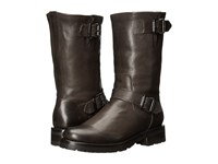Frye Natalie Mid Engineer Lug Charcoal Tumbled Full Grain Women's Pull On Boots Black