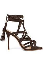Schutz Lydia Leather Trimmed Suede Sandals Dark Brown
