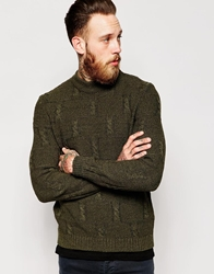 Asos Cable Jumper With Chunky Neck Khaki