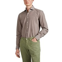 Cifonelli Cotton End On End Shirt Brown
