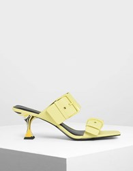 Charles And Keith Square Toe Heeled Mules Yellow