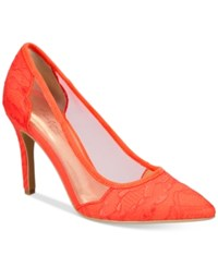 Thalia Sodi Natalia Mesh Pointed Toe Floral Pumps Only At Macy's Women's Shoes Coral