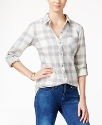 Polly And Esther Juniors' Plaid Flannel Shirt Cream Grey