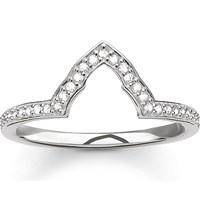 Thomas Sabo Fatima's Garden Sterling Silver And Zirconia Pave Temple Stacking Ring
