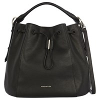 Karen Millen Lizard Drawstring Tote Bag Black