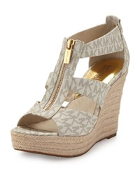 Damita Logo Zipper Wedge Sandal Michael Michael Kors White