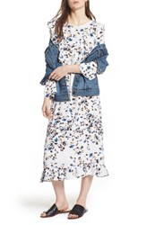 Treasure And Bond Print Ruffle Maxi Dress White Scattered Floral