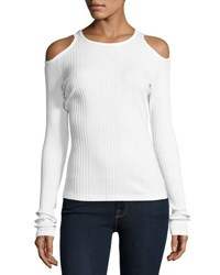 Frame Variegated Rib Cold Shoulder Long Sleeve Top White