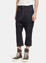 Rick Owens Astaires Creased Cropped Jeans Navy