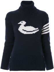 Thom Browne Duck Intarsia Cashmere Pullover Blue