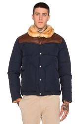 Penfield Rockwool Leather And Shearling Yoke Down Jacket Navy