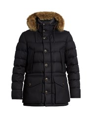 Moncler Rethel Fur Trimmed Wool Down Coat Navy
