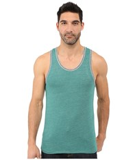 Alternative Apparel Double Ringer Tank Eco True Aqua Teal Eco Grey Men's Sleeveless Green
