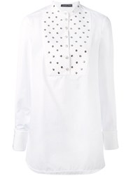 Alexander Mcqueen Studded Bib Shirt Women Cotton Metal 36 White