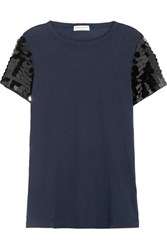 Sonia Rykiel Sequin Embellished Cotton Jersey T Shirt Navy