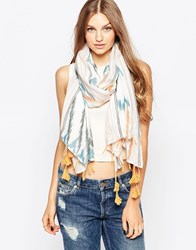 French Connection Printed Lightweight Scarf With Tassels Multi