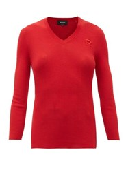 Rochas Ribbed Knit Cotton Sweater Red