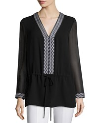 Tory Burch Long Sleeve Drawstring Tunic Women's Black