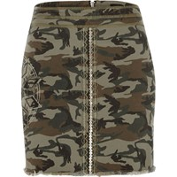 River Island Womens Khaki Green Camo Sequin Mini Skirt