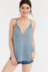 Project Social T Cameron V Neck Tank Top Blue