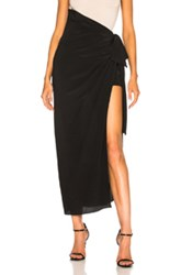 Saint Laurent Crepe De Chine Maxi Skirt In Black
